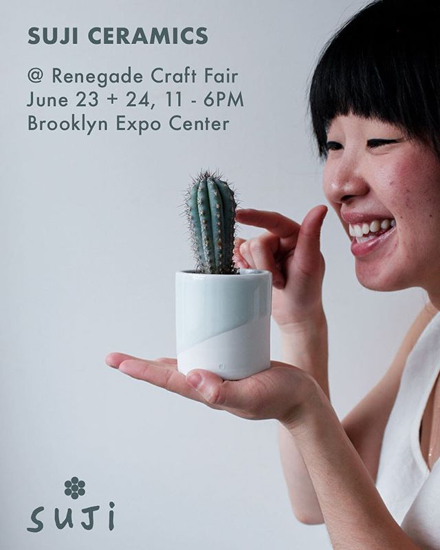 JUNE is in bloom! i'm so very excited to announce i'll be at @renegadecraft brooklyn this summer, alongside some incredibly talented makers + designers. . . @sujiceramics is a pottery project i started when i ran out of homes for my plants. i combine my two greatest passions—plants and pottery—to make happy, functional planters to showcase the beauty of the plants inside them. i can't wait to share this brand new collection of tiny and playful planters, jewelry, and home goods with you, and hope to see you at the show! 💕🌿 . . P.S. if you're not in new york, stay tuned. i have an exciting update coming for you at the end of the month! . . #renegadecraft #renegadecraftbrooklyn