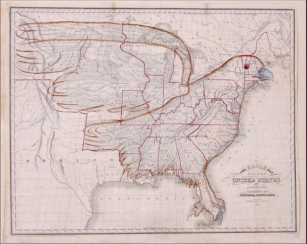 The Eagle Map of The United States - Rudiments of National Knowledge, 1833