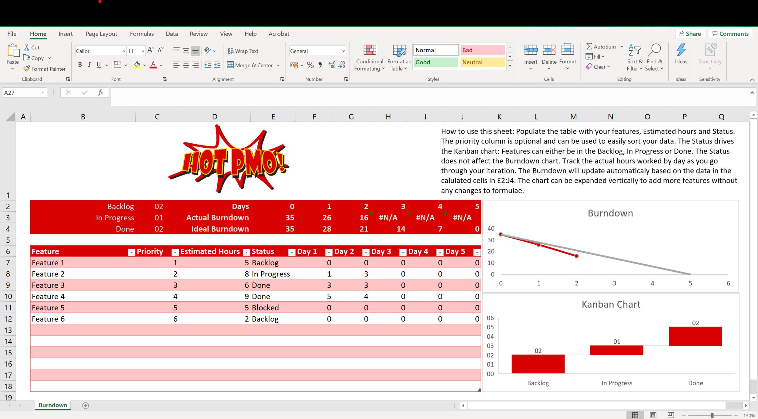 Free Excel Burndown Chart Template