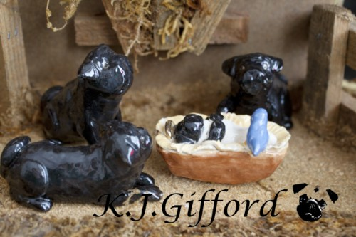 Black Pug Nativity Scene