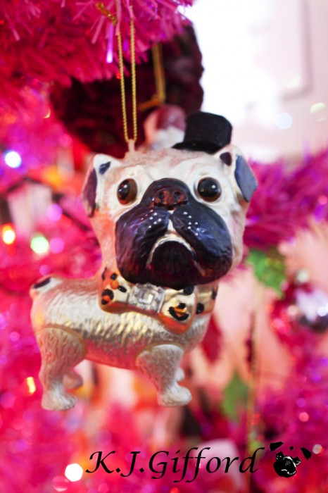 Fawn Pug Ornament with Top Hat