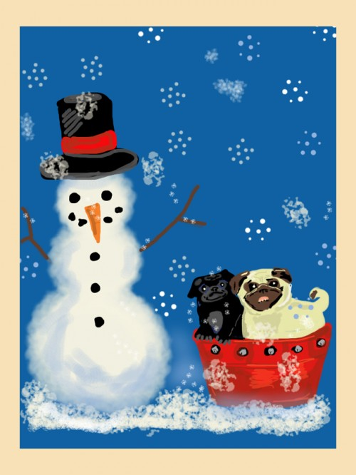 Snowman Drawing and Black and Fawn Pug Red Bucket