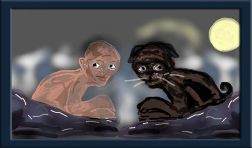 Drawing Gollum and Black Pug