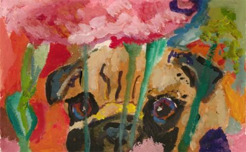 Fawn Pug Gouache Painting