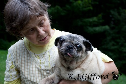 Woman and Fawn Pug