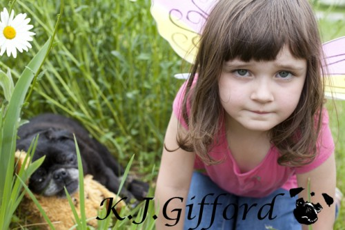 Black Pug and Girl in Fairy Wings
