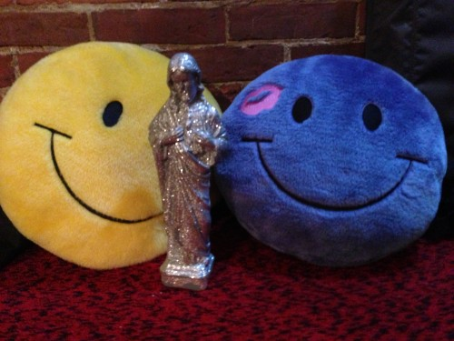 Yellow and Purple Smilie Pillows and Sparkling Jesus
