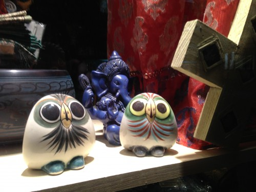Two Owls in Storefront