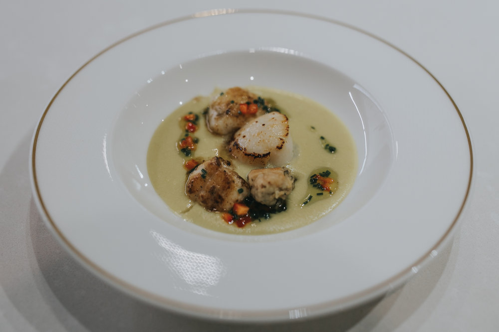 Pan seared king scallops & monkfish with Tempura oyster and Sweet corn veloute