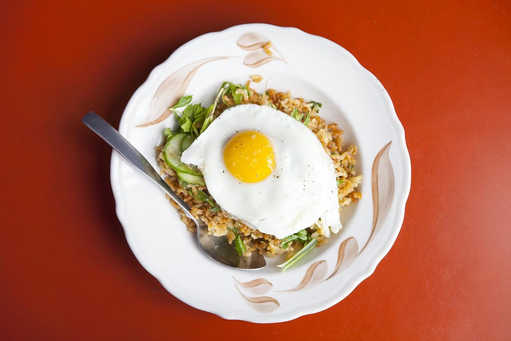 Crispy brown rice salad with a fried egg at Sqirl