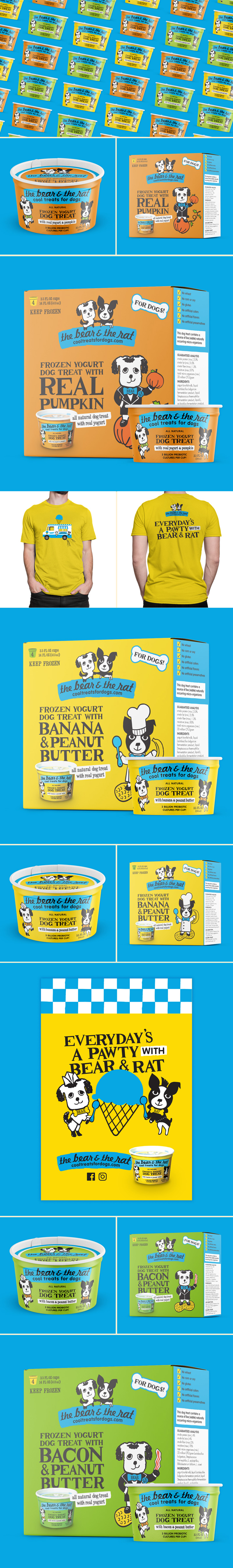 The Bear and The Rat Frozen Yogurt for dogs packaging design by Riddle Design Co.