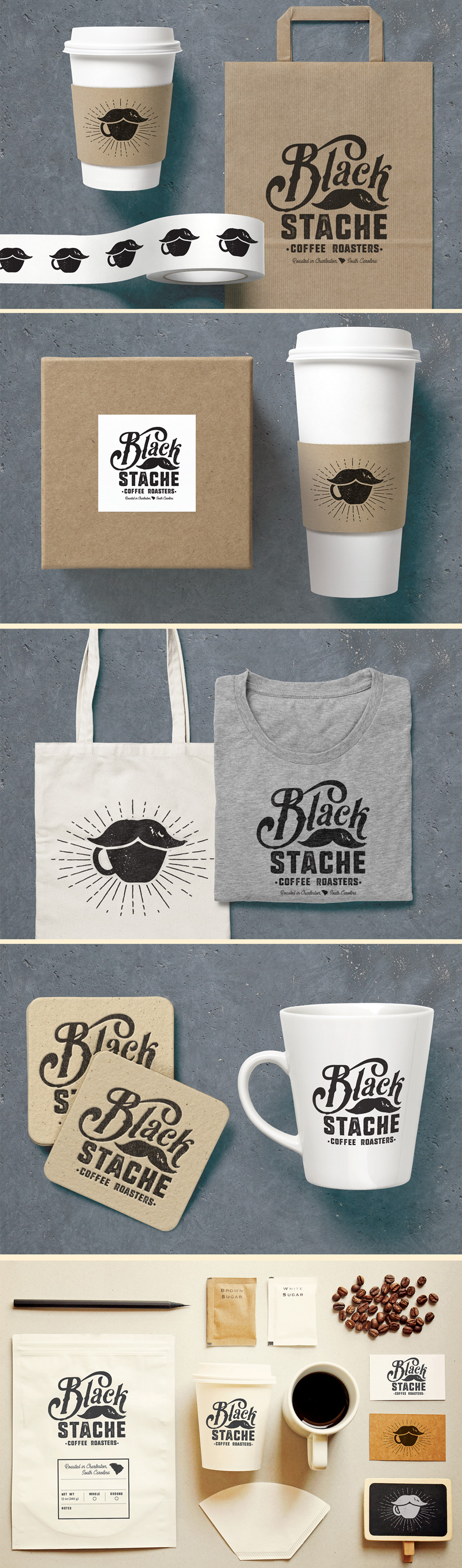 Black Stache branding and packaging design with custom typography and illustration by Riddle Design Co. a graphic design studio in Richmond, Virginia
