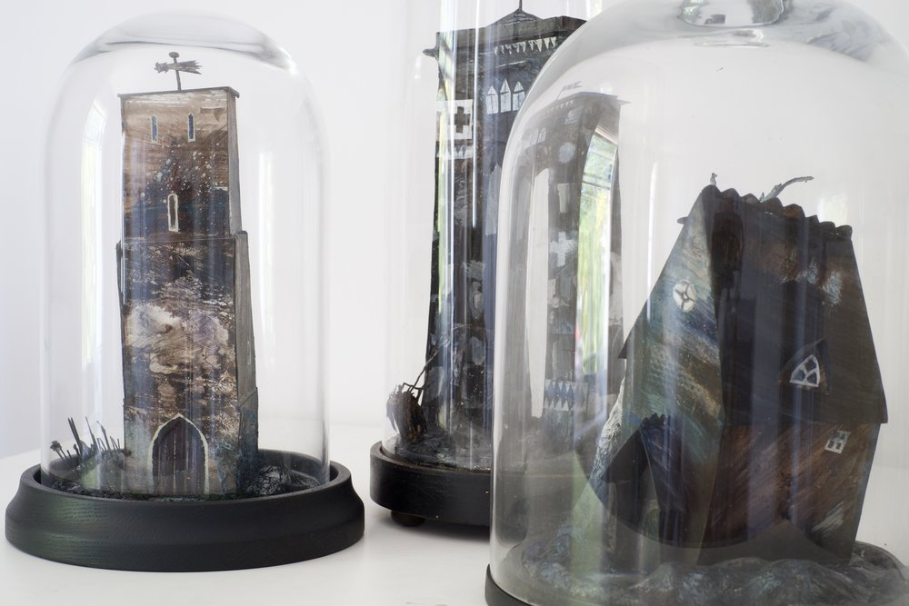 Three Nightjars, mixed media construction, bell jars,  2016
