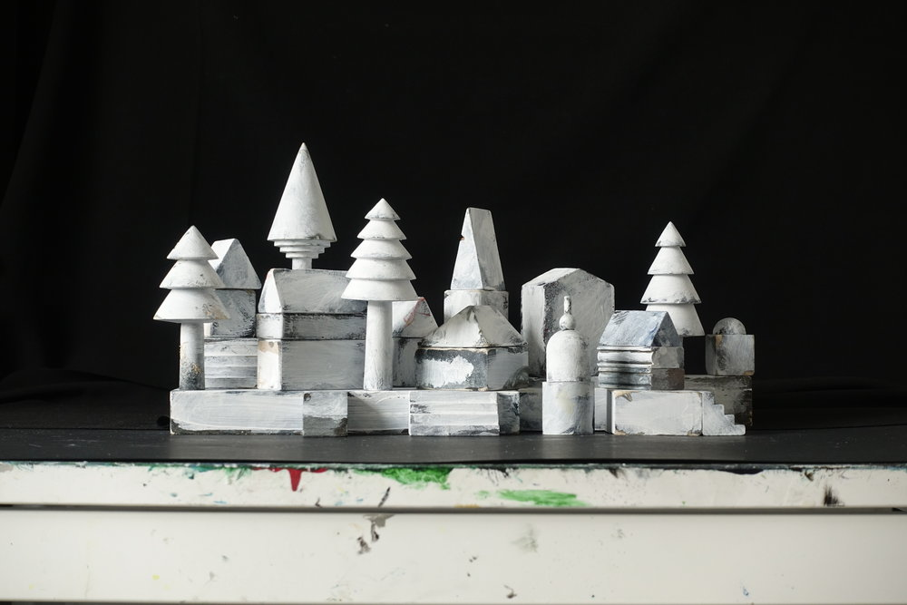 The Village,  table top model set, mixed media construction for  Hansel and Gretel,  2018
