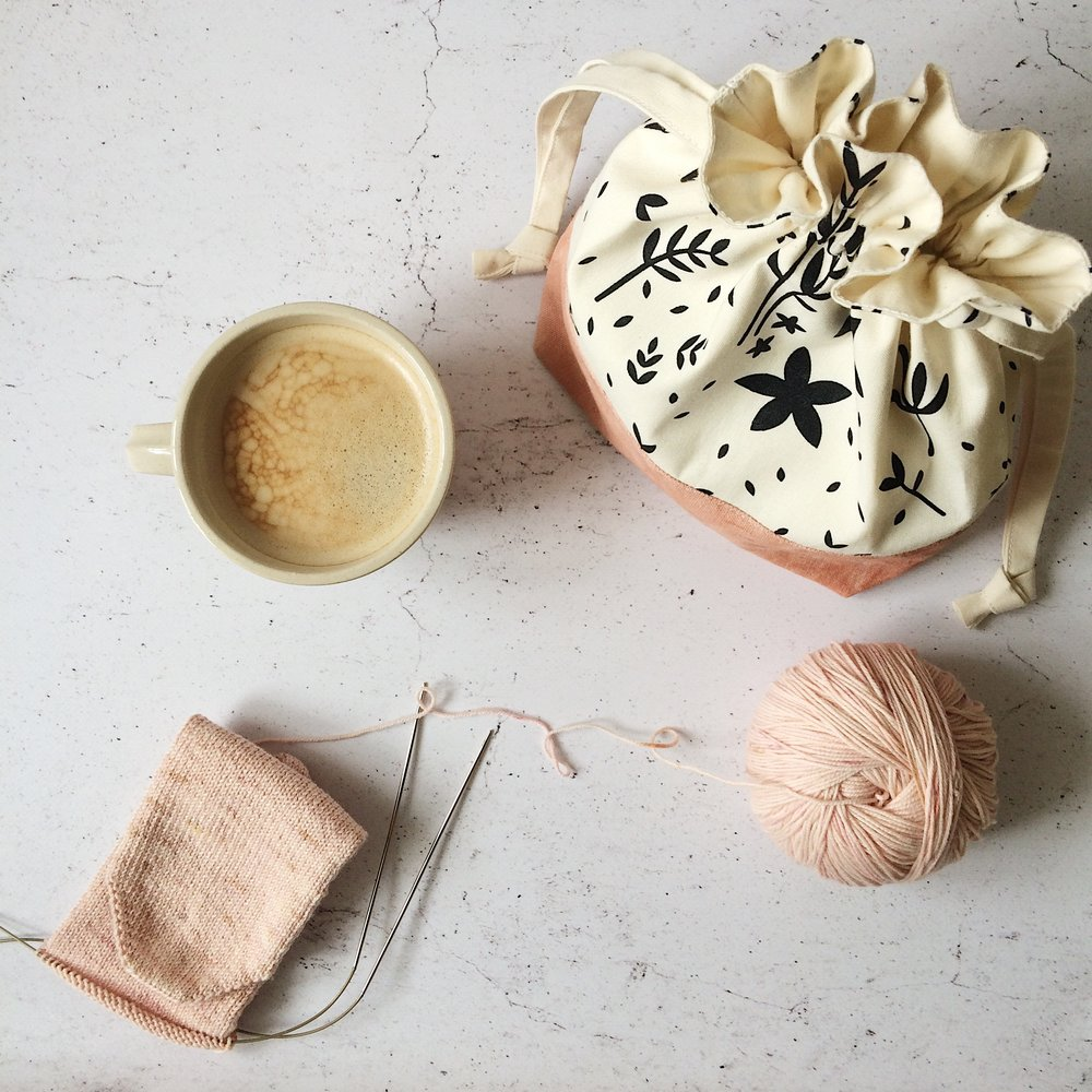 Naturally Dyed Pink Drawstring Project Bag