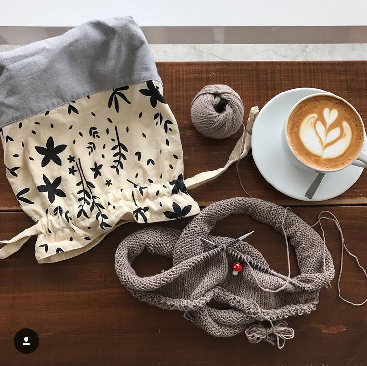 Drawstring Knitting Project Bag   by  @phyllisknits