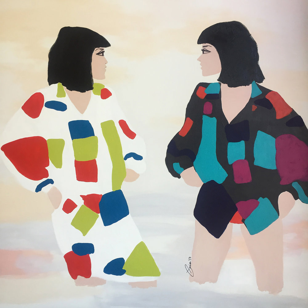 "Acrylic painting by Parisa Parnian// ""Wonder Twins Activate"" // 40"" x 40"""