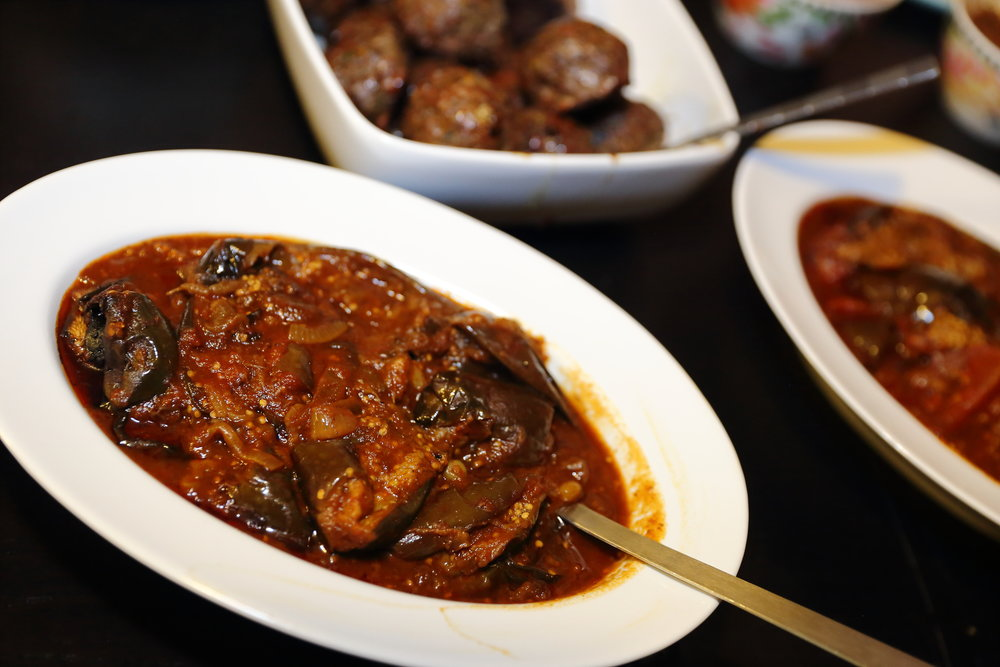 Khoreshteh Bademjaan (Eggplant Braise) I made for my recent pop-up dinner.  Photo credit:  Tina June