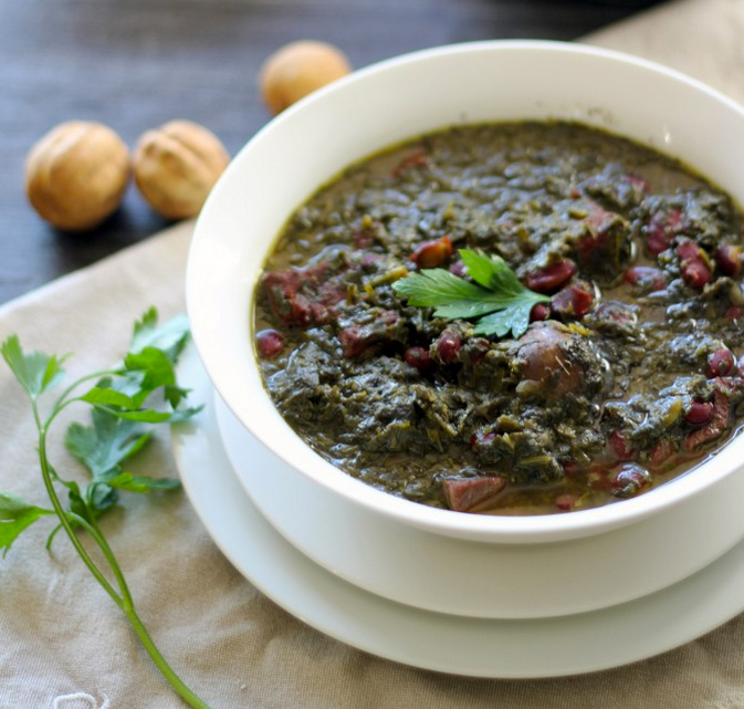 Ghormeh Sabzi (Persian Green Herb Stew)  Photo and recipe at:  Maman's Kitchen