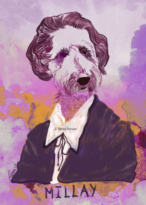 Multi-media digital illustration /custom pet portrait by Parisa Parnian