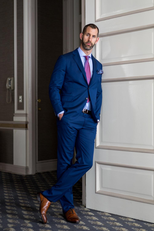 Our model Jeff is spotting a beautiful Belvest Royal Blue Suit