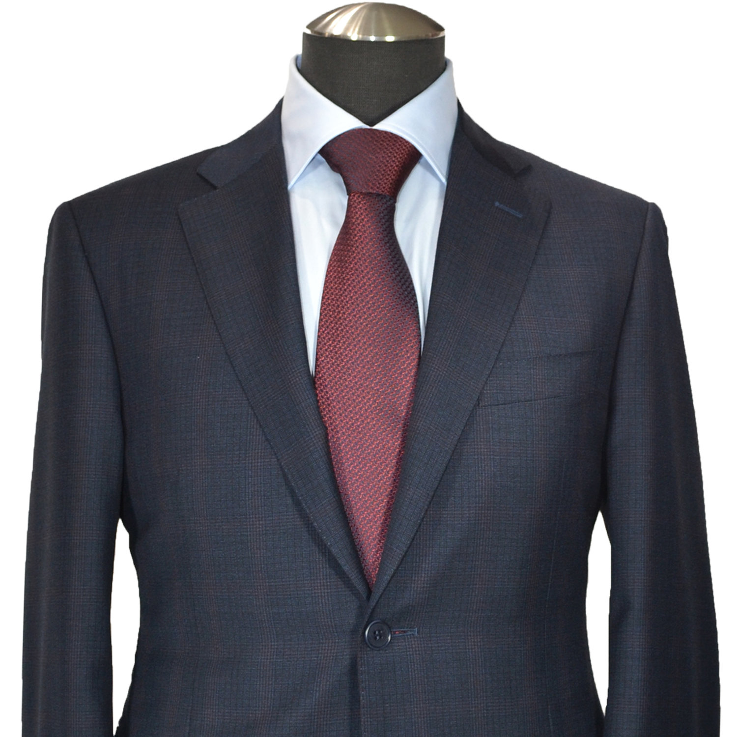 41f2ef48494072 Canali Suit-Siena -Pure Wool- Petrol Blue& Bordeaux Prince of Wales ...
