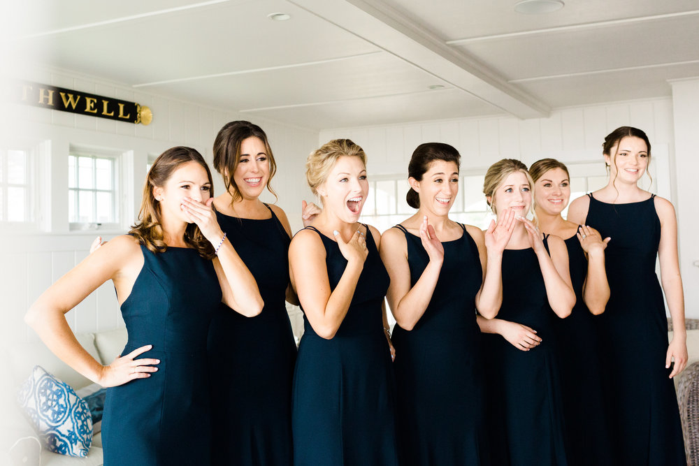 First_Look_With_Bridesmaids_Cape_Cod_Wedding