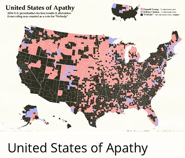 #ApathyWins? #2016Map This is why people you don't agree with, make your decisions for you... #2018elections #seanryderwilliams