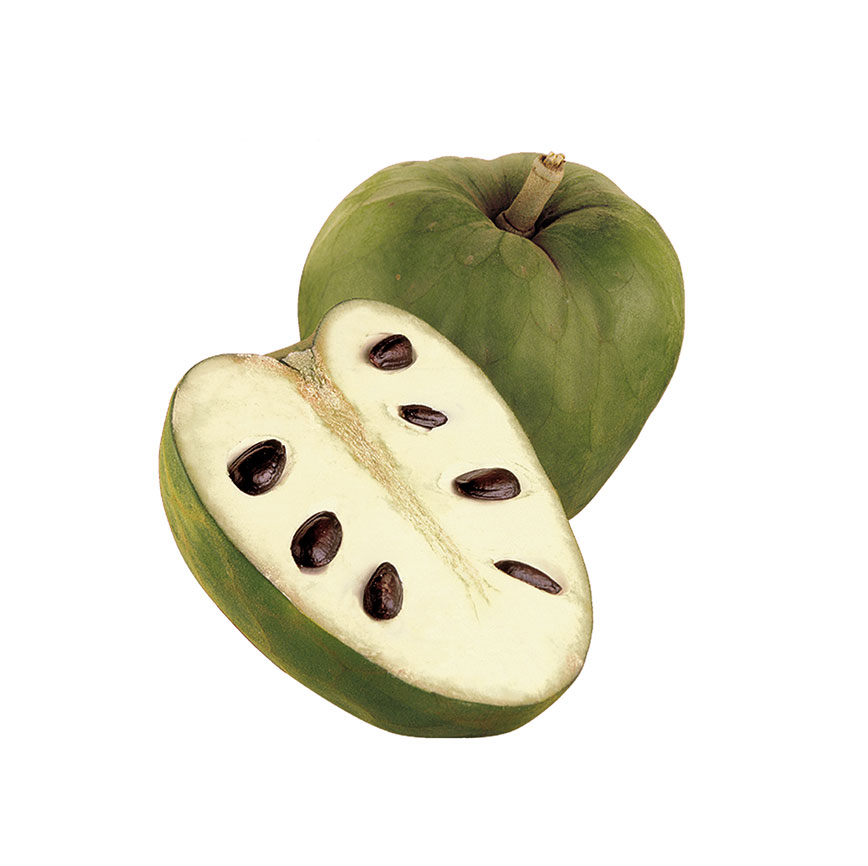 Nicknamed 'custard apple', you eat it by cutting in half and scooping out the fruit with a spoon.
