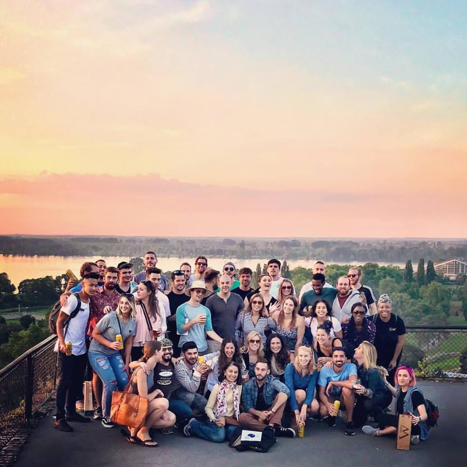 My Remote Year family watching sunset at The Fortress in Belgrade, Serbia