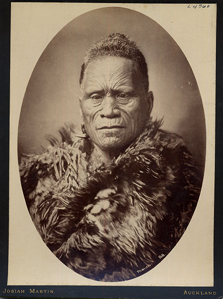 Tāwhiao was the son of Te Wherowhero, and was chosen to become the second Māori King in 1860.  Early in his reign, Sir George Grey drove Tāwhiao and his iwi to seek refuge in Ngāti Maniapoto land during the Waikato War, which saw 1.2 million acres  of Ngāti Mahuta land stolen.  A pacifist, he travelled to London to plead a case for rangatiratanga (sovereignty), set up a Māori parliament, and was known for his many prophecies, including predicting the arrival of Mormonism in Aotearoa.