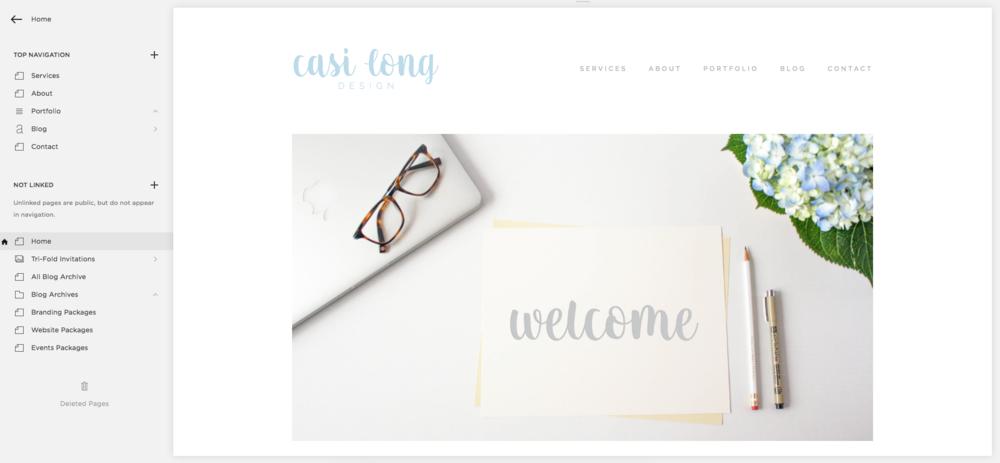 Squarespace Dashboard, Page editor | casilong.com