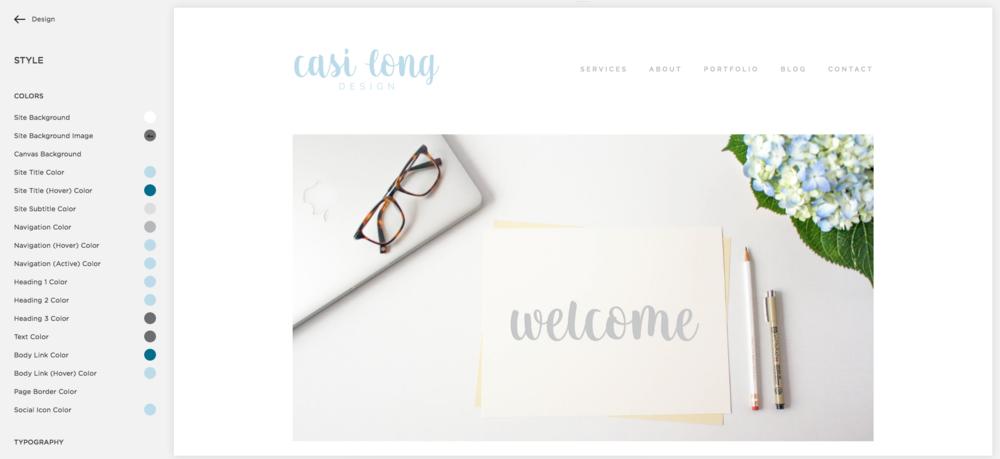 Squarespace Dashboard, Style Editor | casilong.com