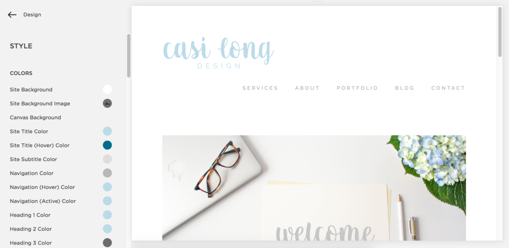 Style and Page editors in Squarespace. Read more on casilong.com/blog/fivereasons