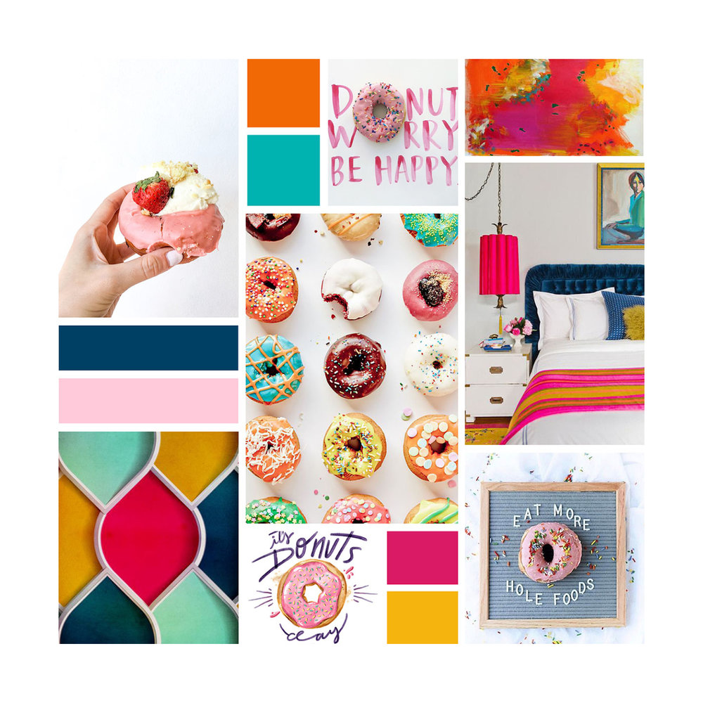 Inspiration Board for Donuts for Miles | Branding by Casi Long Design | www.casilong.com #casilongdesign