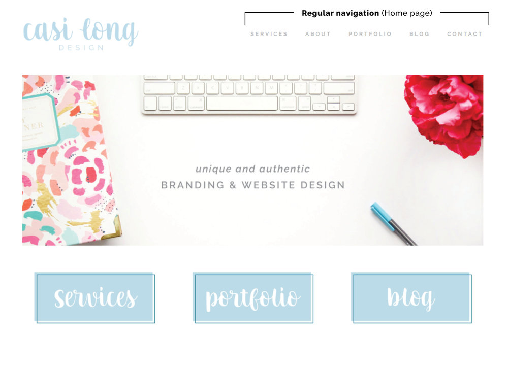 Navigation Examples | 5 Impactful Ways to Customize your Squarespace Template | casilong.com/blog #casilongdesign
