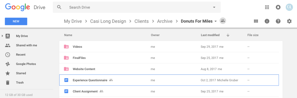 Google Drive folder setup