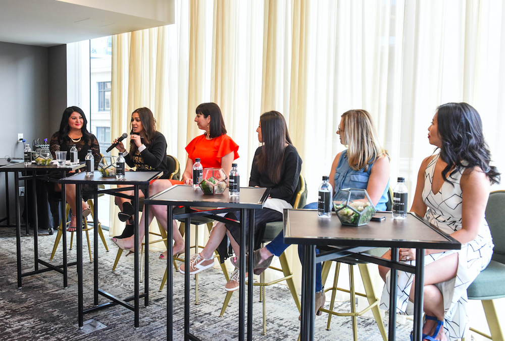 L to R: Sydney from   Gossip & Glamour  , Sammy Scharg of   Julep  , Jessica Branning of   Neiman Marcus  , Danielle Pepperl of   Brooks Running  , Stephanie Chacharon of   ,   and  Jess Estrada of   Fresh Jess  ,.   Image   via Gossip & Glamour