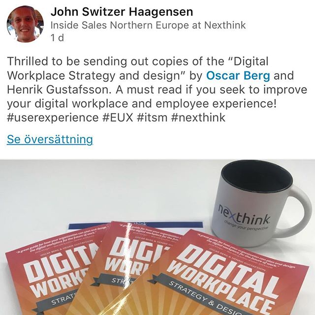 We love feedback - great idea by Nexthink to send our book to customers. We like! 😀