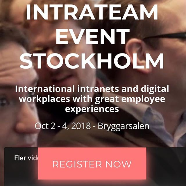 Digital Workplace Strategy & Design co-author Oscar Berg will be speaking at IntraTeam Stockholm 18 October 3. Will you be there?