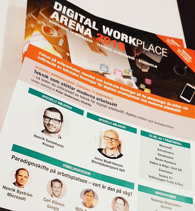 Henrik Gustafsson was a key note speaker at the Digital Workplace Arena 2018 where he talked about strategy and design of digital workplaces.