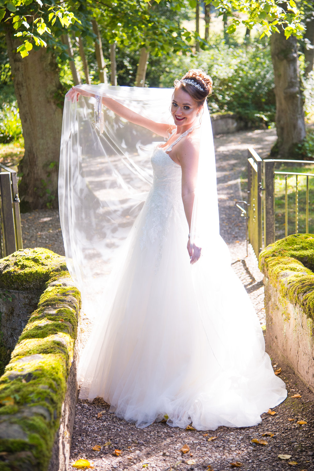 Bride on bridge Hogarths Hotel Solihull