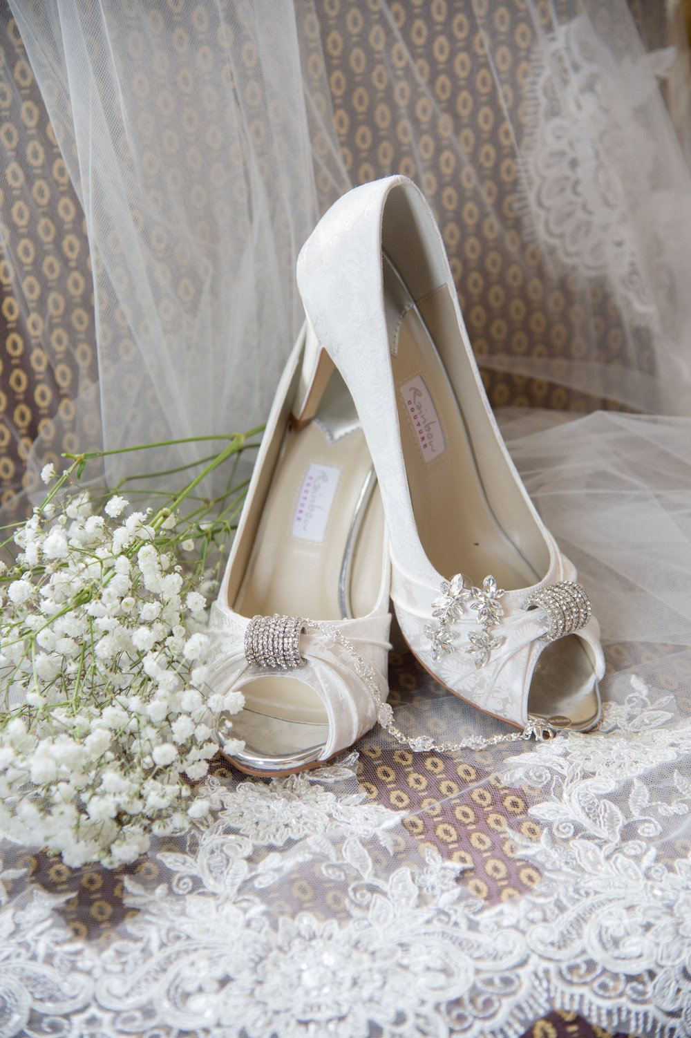 Wedding shoes and bridal veil Anstey Hall Coventry
