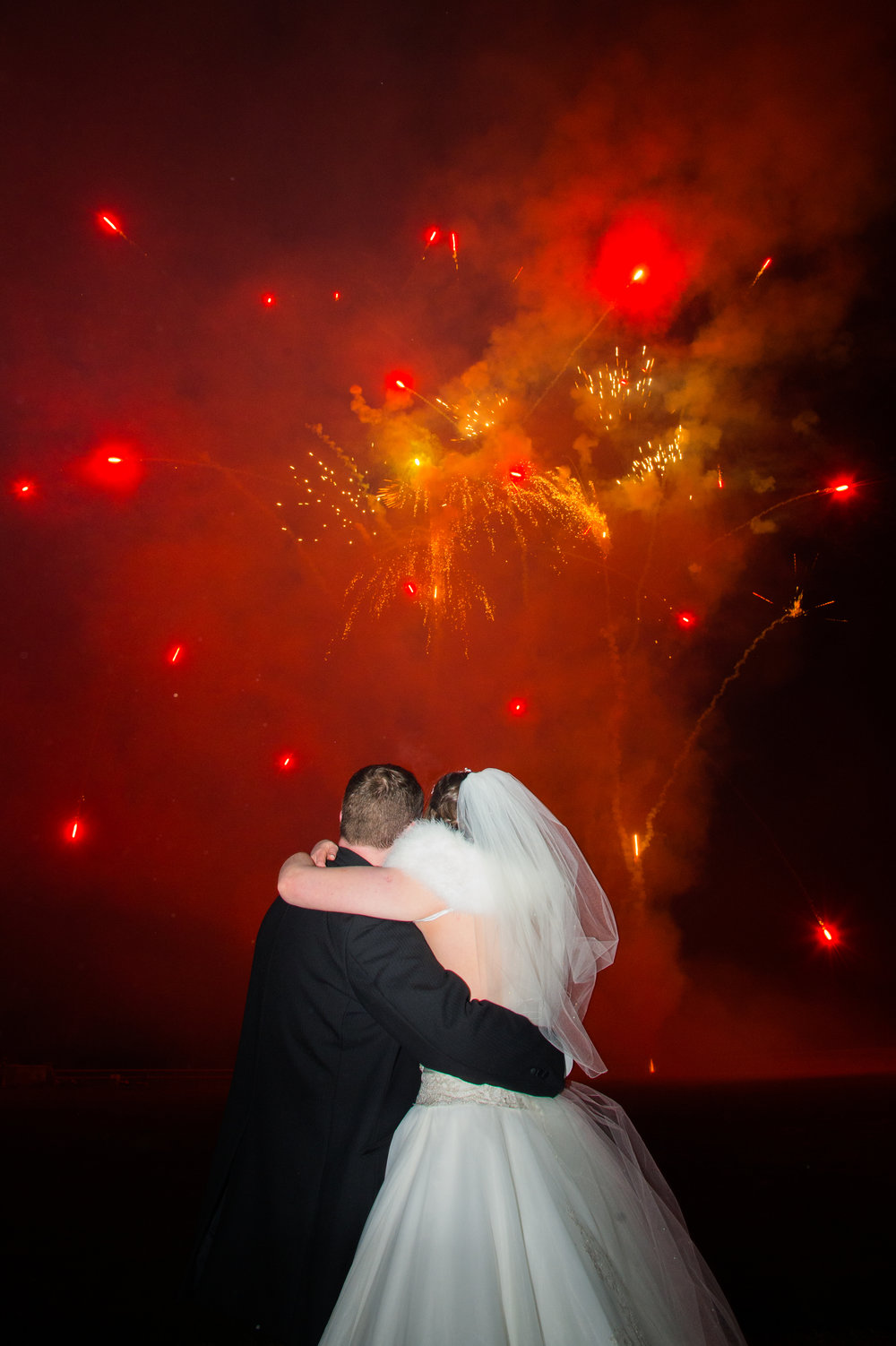 Bride and Groom Fireworks at Walton Hall Hotel Warwickshire