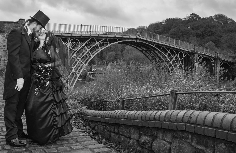Bride and Groom at the Ironbridge Shropshire
