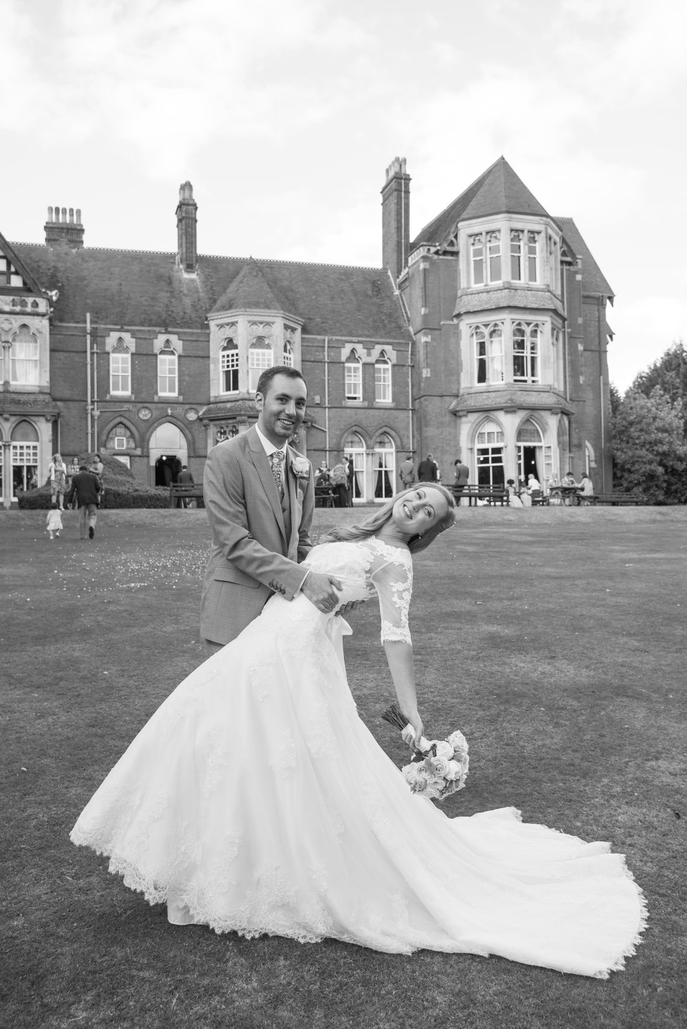 Bride and Groom rear lawn Highbury Hall Birmingham West Midlands