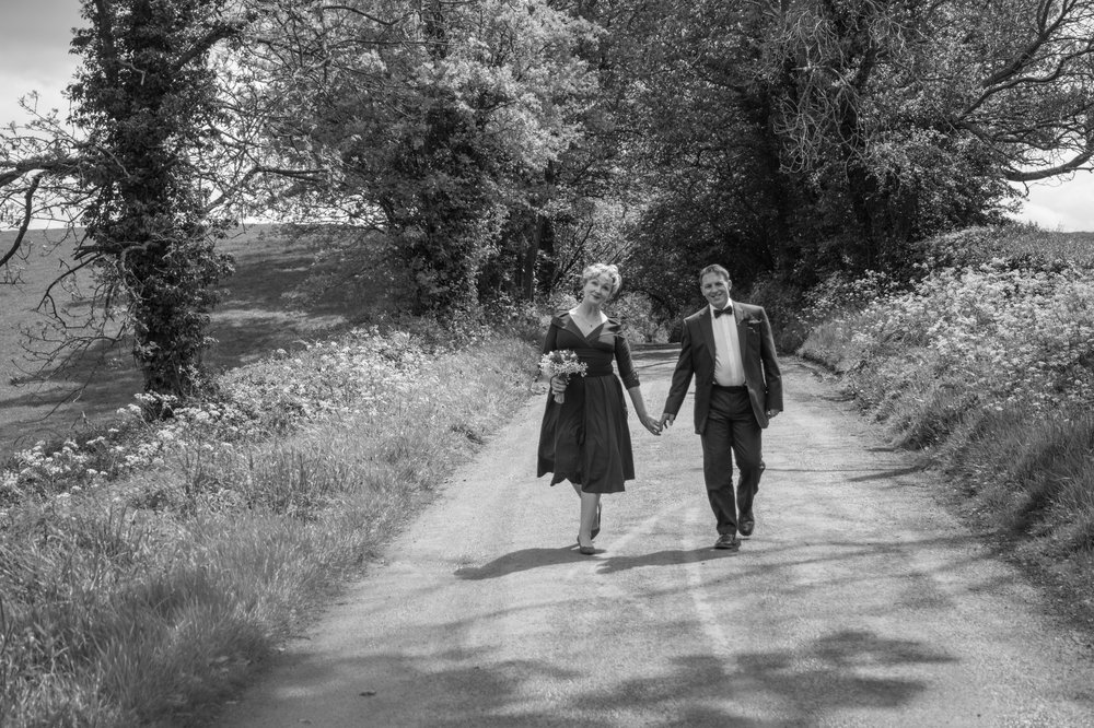 Bride and walk down the lane Jinney Ring Centre Bromsgrove Worcestershire