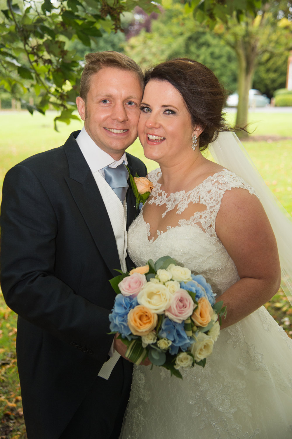 Bride and Groom with bouquet Anstey Hall Coventry Warwickshire