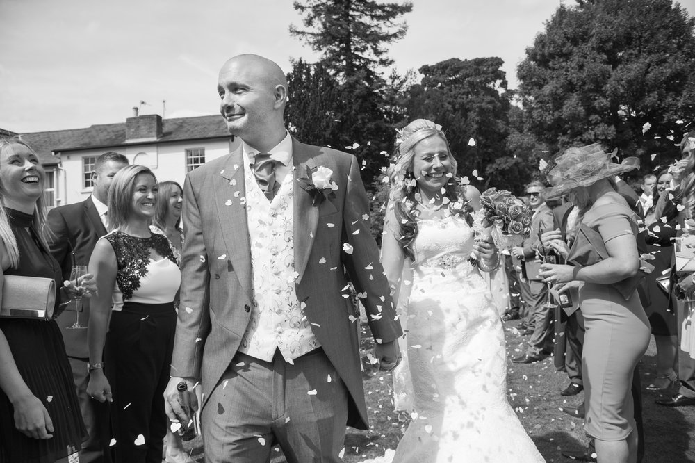 Bride and Groom confetti Brandon hall Hotel Coventry