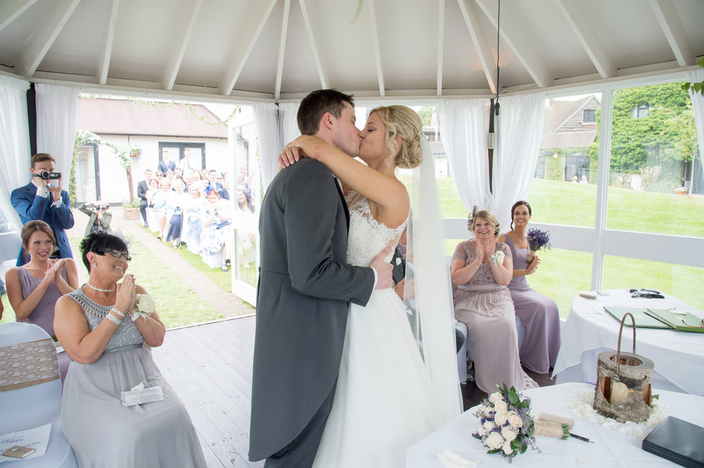 Bride and Groom first Kiss Sketchley Grange Hotel Hinckley Leicestershire